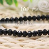 Solid Black 2mm to 12mm AAA Quality Wholesales Price Loose Jade Crystal Facted Roundelles Glass Beads for Jewelry Cheapest