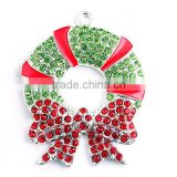 2016 AAA Quality Alloy Chistmas Wreath Rhinestone charm Pendants for kid's Necklace Jewelry