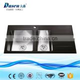 DS10050 custom double glass kitchen sink with drain board