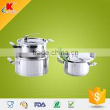 2015 Hot selling 6pcs shiny surface stainless steel kitchenware with s.s lid