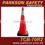 Taiwan High Quality PVC Orange Black Base Reflective Safety Traffic Road Cone 70cm UV Resistance TCB-70R2