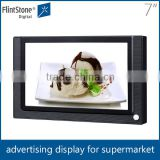 flintstone 7 inch digital advertising lcd shelf mounting pos display, commercial product lcd advertising player