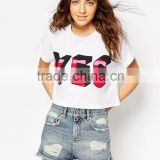 Women Screen Printing T Shirt Print Colorful Yes T-Shirt Girls Cropped T Shirt Design Tee Top