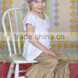 Girls double ruffle pants, tan uniform pants, Ruffle bottoms, ruffle denim pants, back to school pants, khakis pants