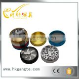 GT5063 open window 4layer bright color layer metal Hand grip tobacco grinder hot selling OEM