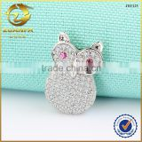 lovely micro paved animal jewelry design for girls 925 sterling silver owl pendant necklace