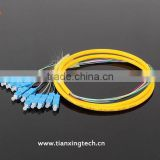 12 core SM /MM /OM3 fan-out fiber optic pigtail / optical pigtails with SC/UPC connector