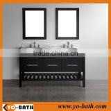 60 inch double sink solid wood espresso modular bathroom vanity, elegant bathroom vanity with marble countertop