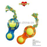 "2014 NEW PRODUCT 7.5"" TPR 8 SHAPE WITH TWO SQUEAKERS TENNIS BALL INSIDE AND ROPE TPR TOY DOG TOY"