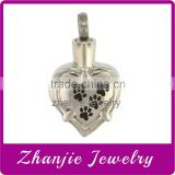 Wholesale A Series Of Funeral Jewelry Stainless Steel Pet Paw Engraved Black Cremation Keepsake Urn Love Shape Pendant Jewelry