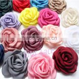 Satin singed burning rose flower - artificial silk fabric chiffon flowers wedding hair accessories Wholesale
