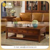 Rectangular Solid Wood Center Coffee Table Cocktail Table with Storage Drawer