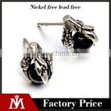 stainless steel fashion earrings mens Talon with round black stone biker earrings