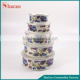 Decal flower blue rose 5pcs enamel food storage container set with plastic lids