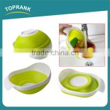 New design foldable storage baskets silicone collapsible kitchen vegetables fruit basket with colander