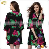 Ecoach wholesale V-neck Flower Soft Half Sleeve kaftan sleepwear floral cotton bathrobe women bathrobe