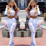 2016 women pants Ladies Casual white and black with waist-length Ripped distressed skinny female jeans