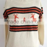 fashion girl crew neck chirtmas sweater with deer knitting pattern