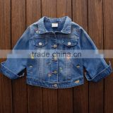 New arrival high quality children's denim jacket kids girl jacket for spring and fall seasons