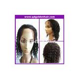 Premium 5A Grade Top Quality 16\'\' 1b# Curly Brazilian Human Hair Full Lace Wig In Stock