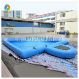 New design inflatable water pool with trampolines