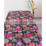 Queen Size Fruit Print Kantha Bedspread Quilt Throw Indian Black Color Handmade bedsheets