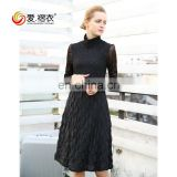 New Design Women Spring Autumn Black long sleeve dress chiffon pleated dress knee length
