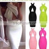 2015 Sexy Women 5 Colors Sleeveless Hollow Chest Backless Bodycon Cocktail Slim Pencil Dress                                                                         Quality Choice