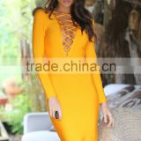 2016 women new winter rose Red yellow army green v neck bodycon hollow out wholesale knee-length bandage dress dropshipping