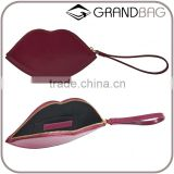 red and pink stylish leather lip shaped coin purse money bag wristlet change pouch for ladies