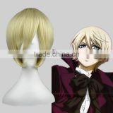 High Quality 35cm Short Straight Black Butler wig Alois Trancy Beige Synthetic Anime Wig Cosplay Costume Hair Wig Party Wig                                                                         Quality Choice