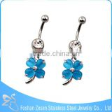 Hypoallergenic women dangling clover belly ring fashion crystal banana piercing