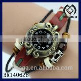 cool indian folk element leather strap watch* wood beads leather bracelet watch