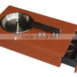 Hot sale cool smokeless brown real leather ashtrays