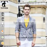 2016 High Quality New Fashion Breathable Middle Sleeve Style Blazer One Button Slim Fit Jacket Business blazers for men