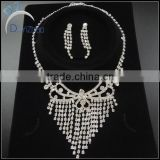 cheap bridal tassel jewelry sets Silver Jewelry Sets Crystal Flower Water Drop Necklace+Earrings