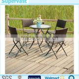Wholesale Cheap Outdoor Resin Wicker 5PC Folding Dining Set