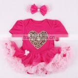 2015 children Chrismas clothings baby short sleeve tutu romper and headbands sets