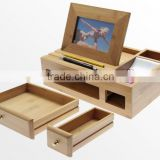 100% bamboo Organiser Tidy Stationery storage Box with drawer multifunction Desk Organiser with Photo Frame wholesale