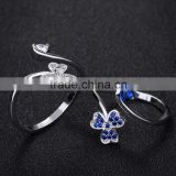 flower shape open women ring blue gemstone setting latest gold plated finger ring designs