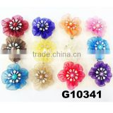 bulk hair accessories rhinestone pearl silk hair flowers with clip