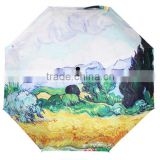 Hot Sale unique umbrella Fashion Galaxy Nebula oil painting cornfield umbrella Sunny and Rainy Sunscreen Anti-uv Umbrellas