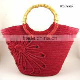 WLJY-009 100% wheat straw lady straw basket beach bag with bamboo handle