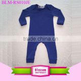 2016 Newest arrival plain royal blue toddler bodysuit cotton long sleeve binding legs children romper baby clothes clothing yiwu