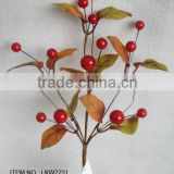 "high quality newest special artificial holly leaves and foam red berry pick 14"" branches pick for chrismas home decoration pick"