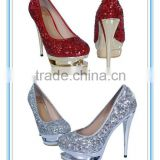 Gorgeous Hot Sale High Heel Platform Woman Shoe Silver/Red Sequins Wedding Shoes(WS-5004)
