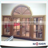 German style arch top round solid wooden casement window manufacturer
