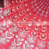 Indian Handmade silk fabric hand block mandala printed rayon fabric girls sarong sanganeri running fabric