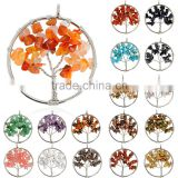 Women Rainbow 7 Chakra Amethyst 2016 Hot Selling Tree Of Life Quartz Chips Pendant Necklace Multicolor Natural Stone Necklace