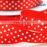 Different types gift wrapping best price polyester single side custom dot printed white satin ribbon red